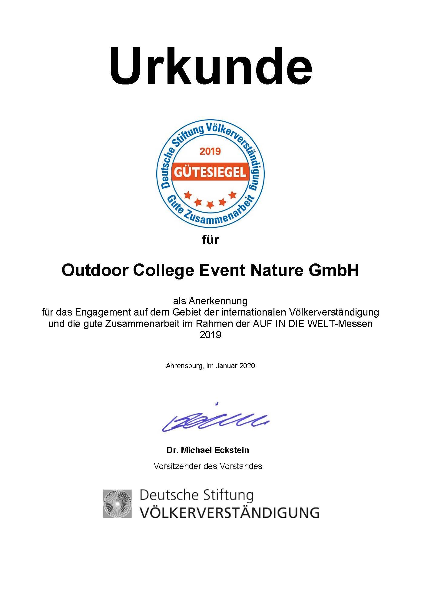 2020.02.03 Gütesiegel 2019 Urkunde Outdoor
